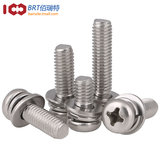 304 stainless steel combination screw round head three combination screw Phillips head combination screw