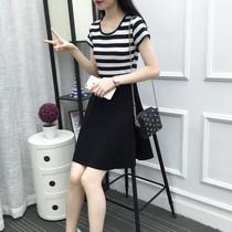 2018夏装新款连衣裙黑白条纹中长款短袖修身显瘦韩版女装百搭裙子