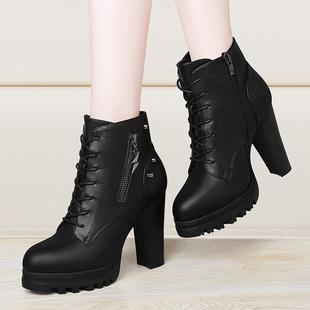 粗跟马丁靴2017秋冬季新款高跟韩版百搭英伦风短靴防水台女靴女鞋
