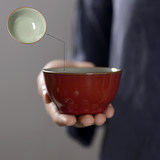 Sacrifice red and blue kung fu tea set cup master tea cup Jingdetown hand-made kiln open piece can raise couples to cup