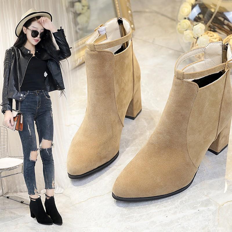 18欧版新高跟马丁靴女靴子短靴短筒休闲磨砂尖头粗跟女鞋纯色百搭