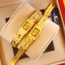 Authentic Watches Fashion Quartz Golden Lady Fashion Gilded Mother's Bracelet Square Trend Retro-Ancient Watch