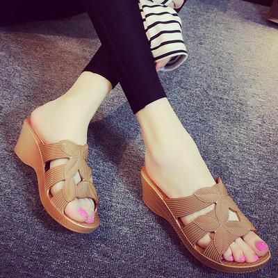 高跟凉拖鞋女夏防滑塑料软底厚底休闲简约一字拖鞋防水台坡跟凉鞋