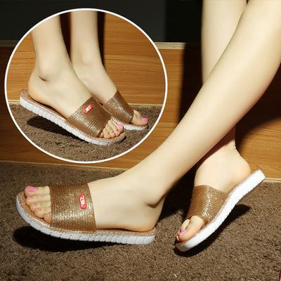 新款浴室拖鞋水晶洗澡鞋家居家女室內一字拖塑料防滑涼拖鞋包郵
