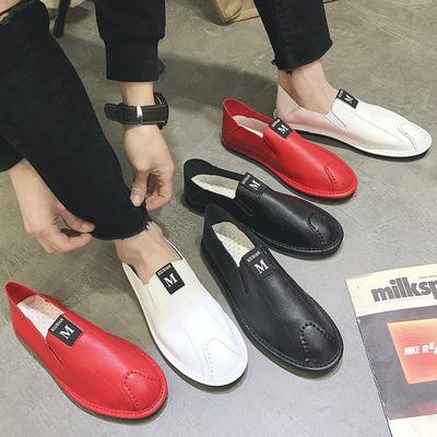 夏季豆豆鞋男透气男士休闲皮鞋男懒人鞋一脚蹬韩版潮流鞋子男