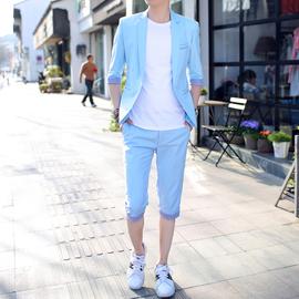 夏季中袖西服套装男韩版修身七分袖小西装学生帅气休闲薄款半袖潮图片