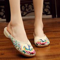 老北京布鞋女秋季新款民族风绣花鞋包头透气拖鞋休闲个性散步鞋子