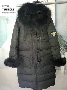 欧洲站17冬季新款特价羽绒服范冰冰同款中长款羊角扣羽绒服女潮