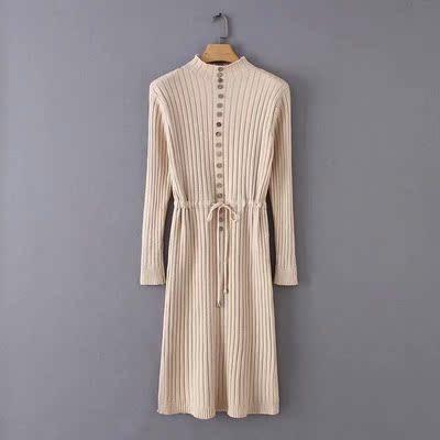 格林森调2018秋冬新款欧美风修身显瘦单排扣纯色收腰系带连衣裙女