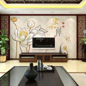 简约现代3d电视背景墙壁纸5d手绘荷花壁画客厅卧室墙纸8d影视墙布
