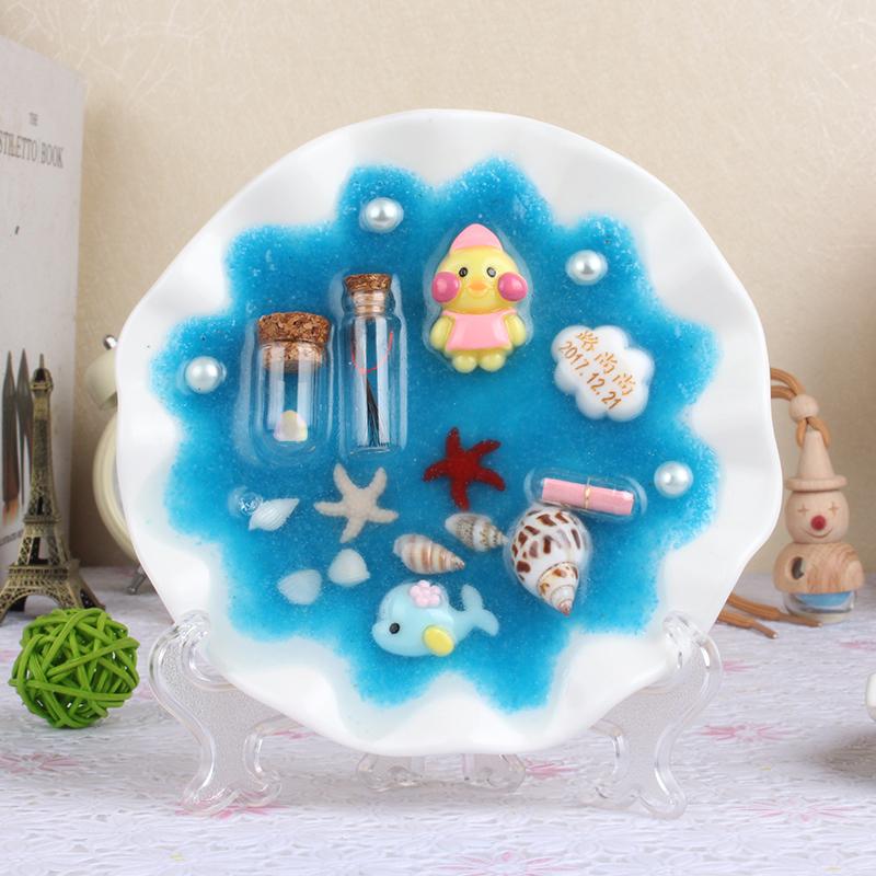 宝宝胎毛纪念品摆台胎发diy乳牙收藏盒子自制新生婴儿生日礼物