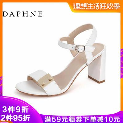 Daphne/达芙妮专柜正品女鞋 春时尚百搭一字扣金属装饰高粗跟凉鞋