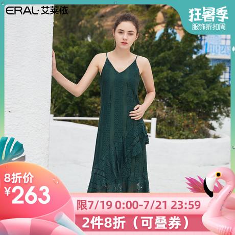 艾莱依2019夏季新款复古蕾丝连衣裙女很仙的吊带仙女裙601830006商品大图