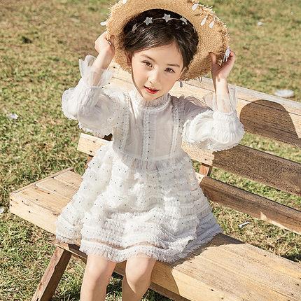 女童连衣裙春装2019新款韩版长袖中大童儿童装网纱女孩洋气公主裙