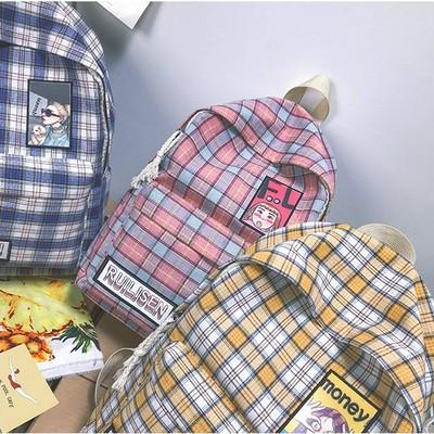 韩版创意双肩包女包小清新格子学生背包森系文艺女生水洗帆布书包