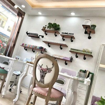 复古美甲店展示架指甲油架子甲油胶美容化妆店隔板实木墙上置物架