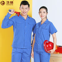 Summer overalls suit men and women thin long-sleeved short-sleeved breathable work clothes summer workshop factory clothes labor insurance clothes shirt