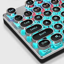 家用键盘机械手感有线网吧网咖七彩金属发光键盘鼠标套装