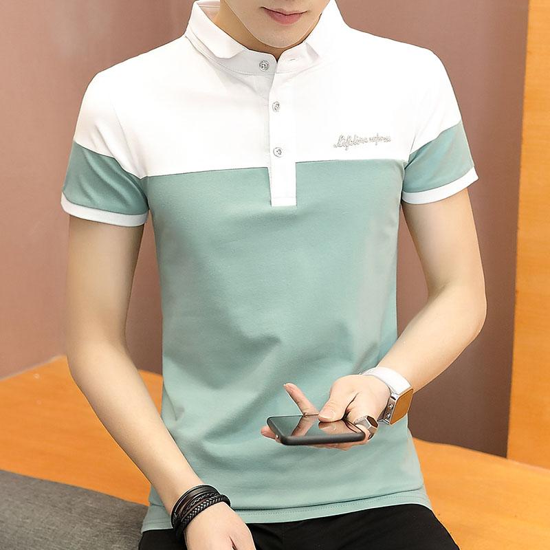 夏季男士短袖polo衫青年男装修身简约T恤夏天有领纯棉休闲翻领潮