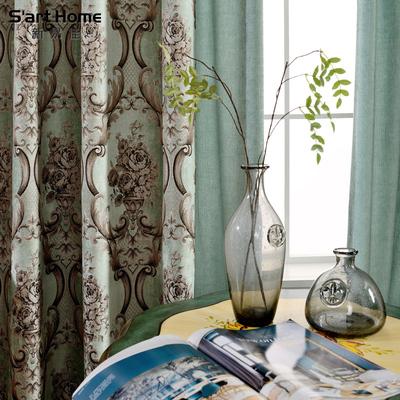 雪尼尔提花浪漫法式美式乡村窗帘E603客厅卧室定制窗帘拼接蓝色帘618大促