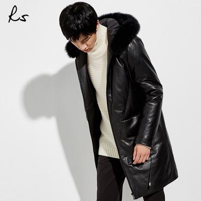 RS2018秋冬季新款连帽大毛领皮衣时尚真皮外套男士中长款羽绒服潮