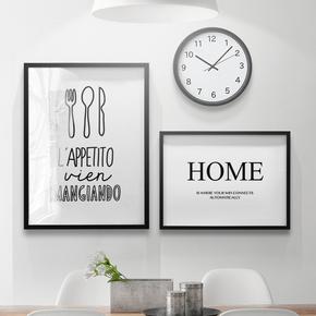 卓雅艺术意式俚语吃喝睡北欧餐厅装饰画现代简约饭厅挂画厨房壁画