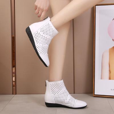 春夏坡跟防水台镂空洞洞女短靴单靴软底简约休闲妈妈鞋女皮鞋夏靴