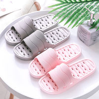 Summer bathroom slippers female indoor thick bottom couple leaking bath home outside wearing non-slip soft bottom slippers men winter