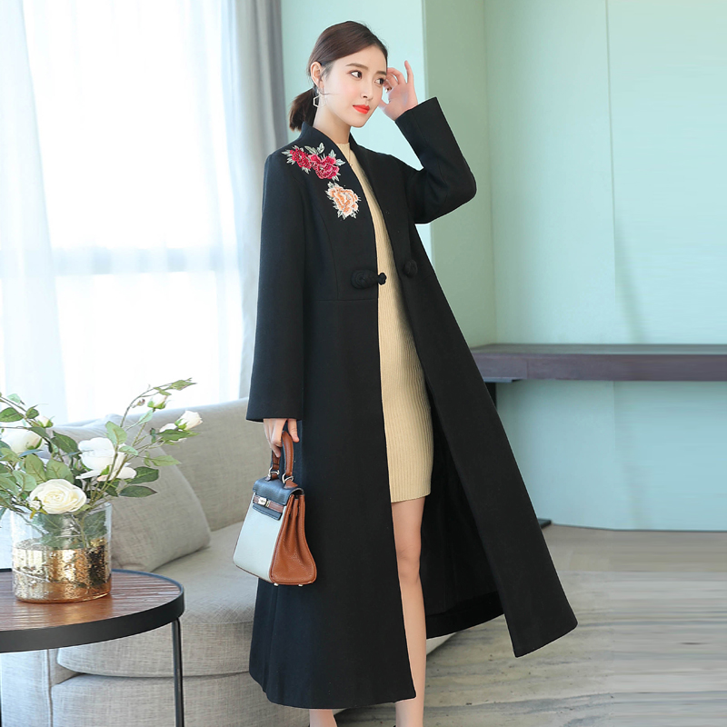 black ladies wool sweater cardigan long section long sleeve 2018 autumn and winter noble mother