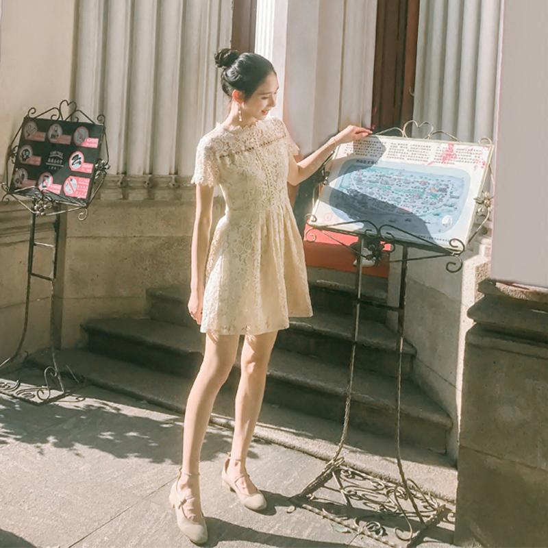 蕾丝连衣裙短袖短裙