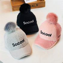 儿童帽子秋冬季男童棒球帽灯芯绒女童鸭舌帽宝宝加厚保暖毛球帽潮