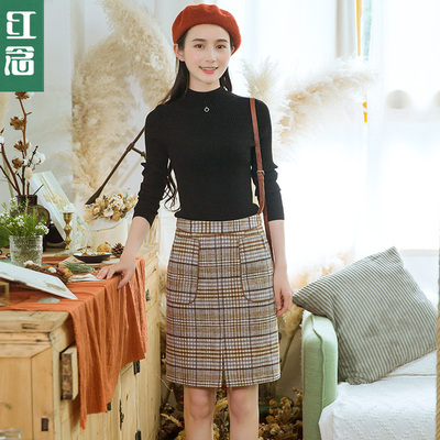 冬季羊毛中裙