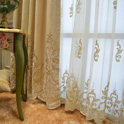 别墅高档简欧大气法中式客厅卧室古典高档窗帘定制窗帘纱 宝特拉实体店