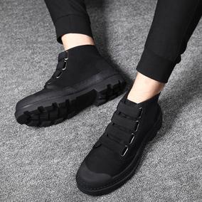 马丁靴男棉靴男鞋冬季高帮加绒保暧工装靴二棉军靴男士复古牛仔靴
