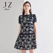 JUZUI/玖姿2018夏新款连衣裙女中长修身短袖印花蕾丝雪纺裙显瘦图片