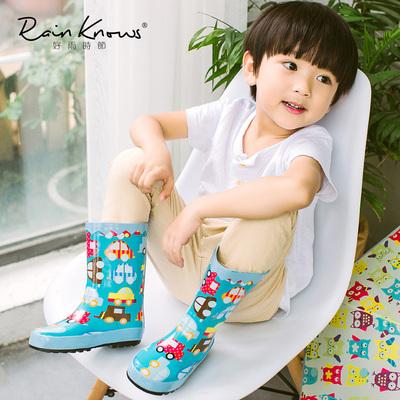 好雨时节 儿童雨鞋可爱卡通猫头鹰汽车防滑女童男童雨靴环保橡胶