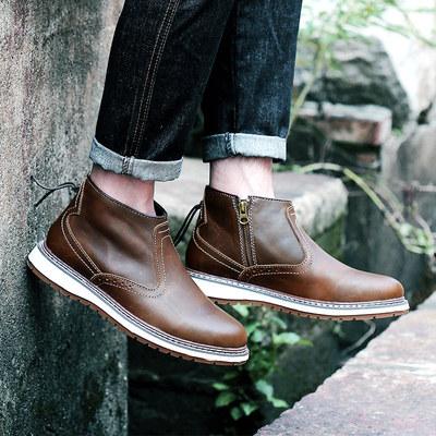 马丁靴男士真皮沙漠靴短靴英伦高帮男鞋切尔西靴子潮流工装大头鞋
