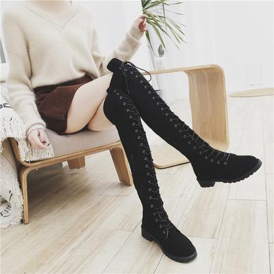 小辣椒过膝靴女长筒靴2018新款马丁靴显瘦靴子女中筒高筒靴秋冬季