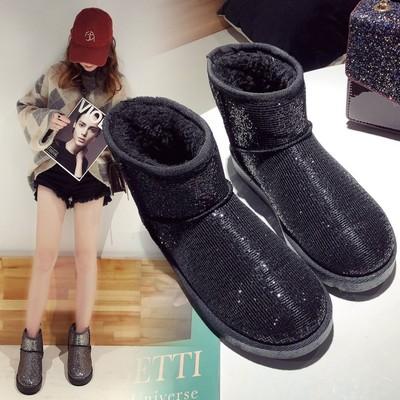 雪地靴女鞋短筒秋冬季新款保暖棉鞋学生休闲加绒加厚平底防滑女靴
