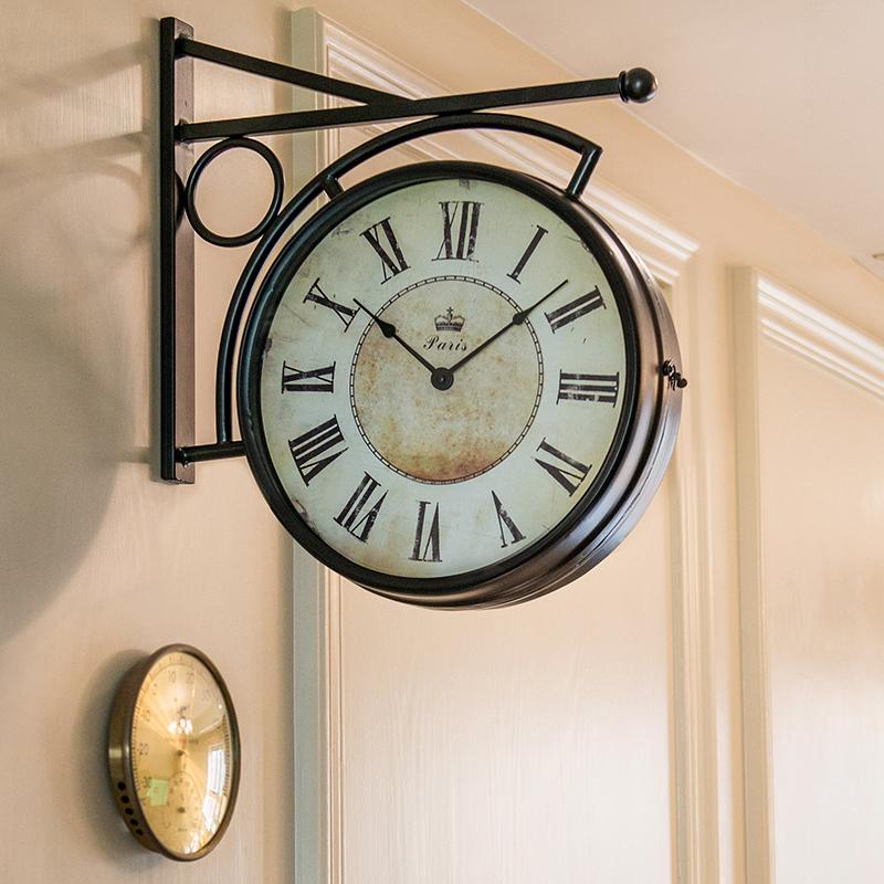 Z009 美式乡村复古铁艺双面挂钟墙钟客厅过道餐厅咖啡馆墙面钟饰