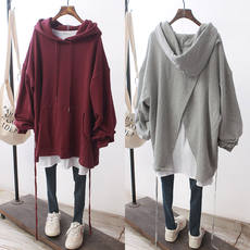 South Korea simple Han Fan loose large size cotton hair loop hooded kangaroo pocket oversize after split sweater women