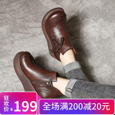 纤纤佳人原创新款民族风女单靴手工真皮复古松糕鞋厚底牛皮妈妈鞋