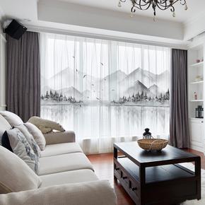 定制新中式水墨山水国画挂钩窗帘 客厅卧室书房飘窗落地窗帘窗纱