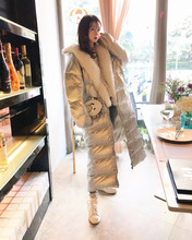 FS Winter Clothing 2018 New Bright Surface Jacket Mid-long Korean Fashion Large Hair Neck Silver Down Dress Female