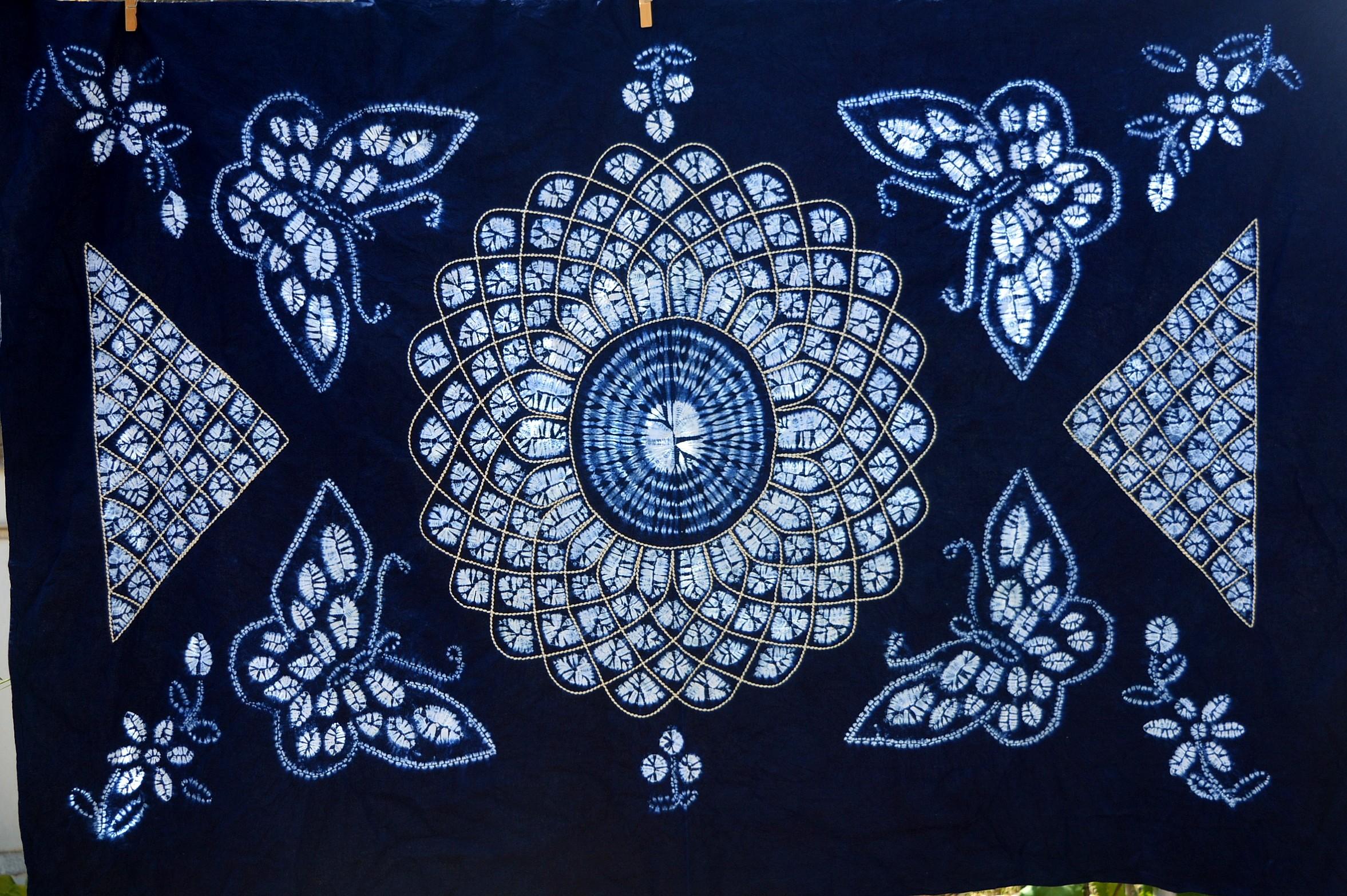 云南大理白族手工扎染桌布壁挂民族风礼物装饰1.1m*1.6m多种图案