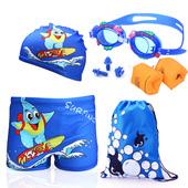 大小童男孩平角裤 帽宝宝学游泳套装 新款 卡通儿童游泳衣男童泳裤图片