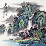 纯手绘国画风景画原稿水墨山水画靠山风水招财画四尺斗方源远流长