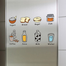 The restaurant kitchen cabinets waterproof stickers wallpaper decoration individuality creative cartoon fridge sticker removable wall stickers