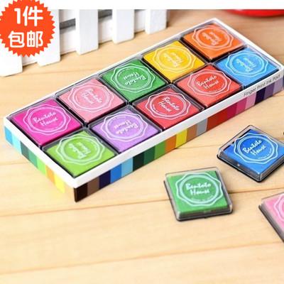 包邮礼物韩国文具4*4cm手指画彩色印泥DIY橡皮章印章印台20色盒装