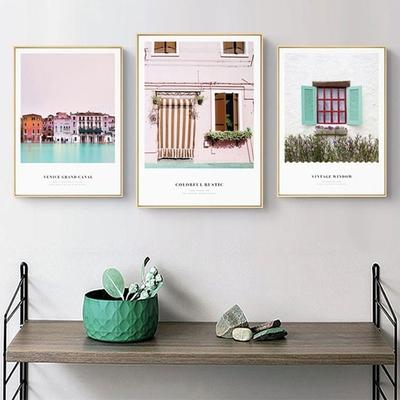 北欧ins清新粉色小镇窗户风景客厅挂画三联画餐厅装饰画卧室壁画
